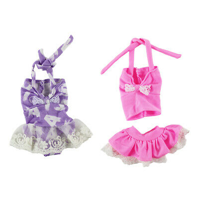 4 x 14.5inch Dolls Clothes Printed Strap Swimsuit Swimwear for Wellie Wisher
