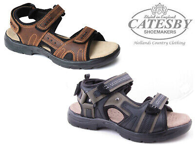 e9540c52d44 CATESBY MENS BOYS Leather Summer Sports Walking Hiking Sandals Tan ...