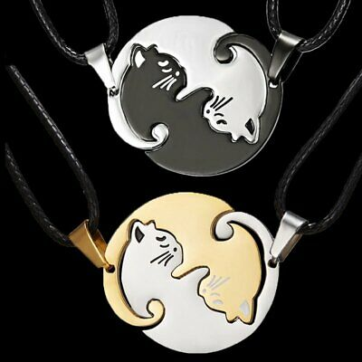 2Pcs Stainless Steel Couple Cat Hug Love Leather Pendant Necklace Charm Jewelry