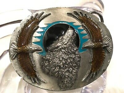 Vintage Siskiyou Wolf & Eagles Belt Buckle 1995