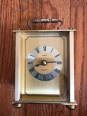 Vintage VIVANI small brass mantle carriage desk clock. Made in West Germany.