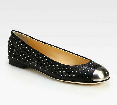 f81d17e2b6323 GIUSEPPE ZANOTTI Black Studded Leather Metal Cap-Toe Ballet Flats Size 37