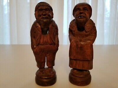 Antique German Nut Cracker Pair Black Forest Hand Carved Rare Full Figural