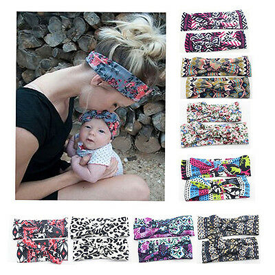 FJ- EG_ HK- 2Pcs Hair Accessories Bowknot Headband Photo Prop for Mom and Baby S