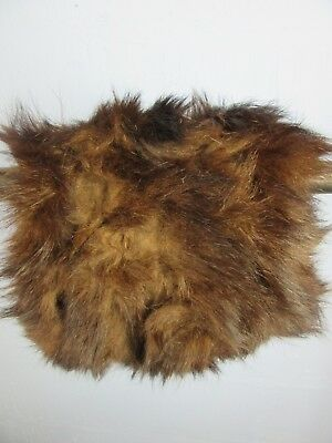 "VINTAGE RETRO BROWN FUR HAND MUFF FULLY LINED WIDTH 8"" LENGTH 8"" m53"