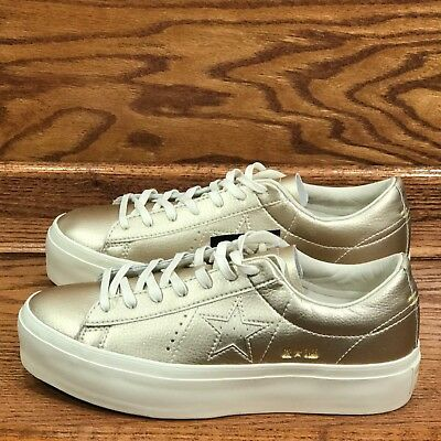 Womens Converse Chuck Taylor One Star Platform Ox Shoes Egret White Gold 559899C