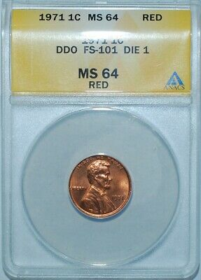 1971 ANACS MS64RD Red FS-101 Doubled Double Die Obverse Lincoln Cent Penny