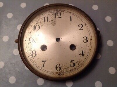 Antique Mantle Clock Brass Bezel Face And Glass Good Hinge And Catch 165mm Diam.
