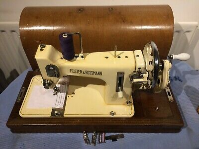 Antique White Frister & Rossmann Handcrank Vibrating Shuttle Sewing machine