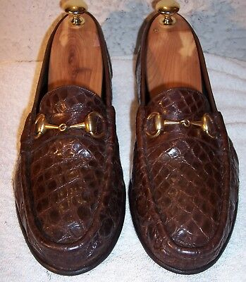 546c324e VINTAGE GUCCI SZ 8.5-9 Medium Horse Bit Brown Full Crocodile Loafers ...