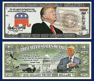 1- Re-Elect President  Donald Trump 2020 Dollar Bill W/clear protector sleeve B2