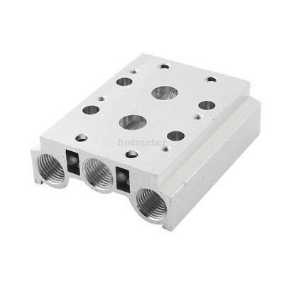 H● 200M-2F 1/4PT Thread Tube Hole Aluminum 2 Row Manifold Solenoid Air P.