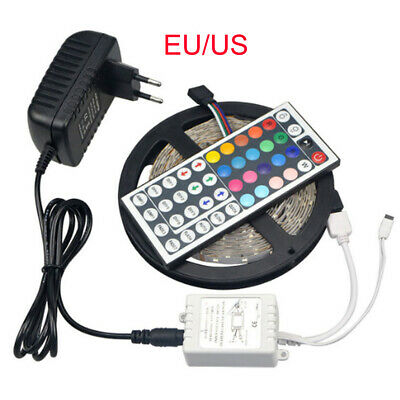 5M RGB LED Strip 3528 SMD 24/44 Keys Remoter+Adapter For DIY lamp Tape lighting