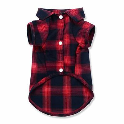 Summer Small Dog Cat Shirt Plaid Polo Clothes T-Shirt  for Pet Costumes Red