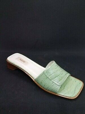 43e505d806 Talbots Light Green Leather Slide Comfort Sandals 1.25
