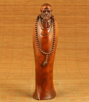 Rare Asian old boxwood hand carving Bodhidharma statue figue table home ornament