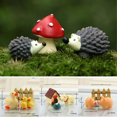 3Pcs/set Miniature Cute Fairy Garden Mini Animal Figurine Decor DIY Bonsai Craft