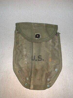 WW2 WWII US ARMY E-TOOL M1943 Canvas Folding Shovel Cover Redwine 1945 DATED