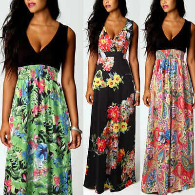 UK Women Boho Maxi Summer Beach Long Skirt Cocktail Party Floral Dress plus size