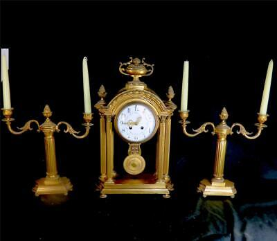 N917 Large Antique French Bronze Brass Portico Mantle Clock Garniture