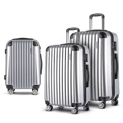 "Wanderlite Lightweight Hard SET of 3 Suit Case Luggage 28"" 24"" 20"" TSA Lock"