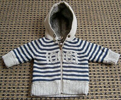 Timberland Baby Boys Zip Front Hooded Cardigan / Jacket Sz 0 - 3 Months Like New
