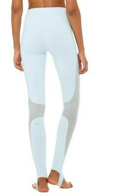 d9e72619ae812 ALO LEGGINGS YOGA Coast Stirrup Mesh Panel Trim Full Length Gray ...