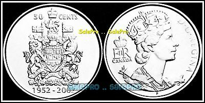 Canada 2002 Rare Canadian Royal Crown Jubilee Queen Elizabeth 50 Cents Coin Unc