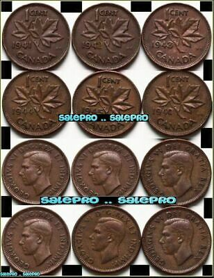 6x CANADA 1941 1942 1943 1944 1945 MAPLE LEAF WW GEORGE VI 1 CENT PENNY COIN LOT