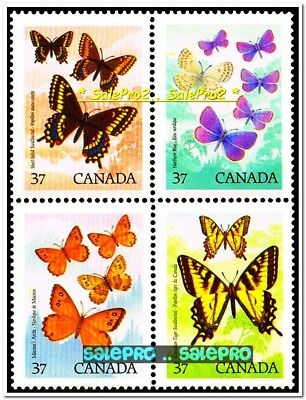 Canada 1988 Canadian Butterfly Mint Fv Face $1.48 Mnh Stamp Full Set Block