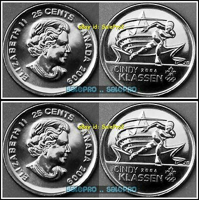 2x CANADA 2009 CANADIAN WINTER OLYMPIC SPEED SKAING KLASSEN 25 CENT COIN LOT UNC
