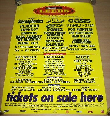 "Oasis Stereophonics Foo Fighters ""Leeds"" Festival Poster Aug 2000 Full Billing"