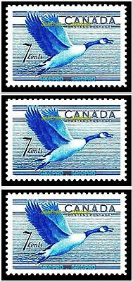 3x CANADA 1952 CANADIAN FLYING GOOSE VINTAGE MINT FV FACE 21 CENT MNH STAMP LOT