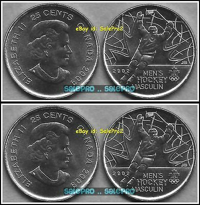2x CANADA 2009 CANADIAN WINTER OLYMPIC NHL MEN'S HOCKEY 25 CENT COIN LOT