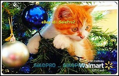 Walmart Christmas Ornament & Lovely Kitty Cat #Vl11521 Collectible Gift Card
