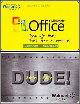 2x WALMART MICROSOFT OFFICE STAINLESS STEEL MAN DUDE COLLECTIBLE GIFT CARD LOT