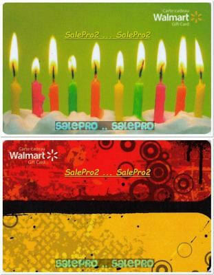 2x WALMART 10TH BIRTHDAY CAKE RED FUNKY SPRING DESIGN COLLECTIBLE GIFT CARD LOT