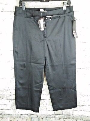 NWT  WHITE HOUSE BLACK MARKET black Legacy crop capri belted PANTS 8R