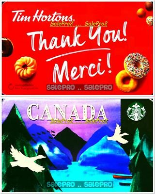 2x STARBUCKS TIM HORTON CANADA THANK YOU DONUTS COFFEE COLLECTIBLE GIFT CARD LOT