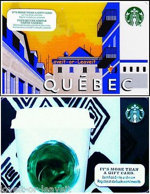 2x STARBUCKS 2013 2015 QUEBEC PROVINCE CANADA TALL CUP COLLECTIBLE GIFT CARD LOT