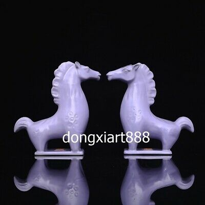 15.6 cm Purple Glaze Porcelain Chinese Zodiac Animal Lucky Tang horse Statues