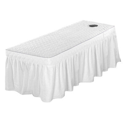 Massage Table Skirt 190x70cm Quilted Beauty Valance Sheet Cover w/ Face Hole