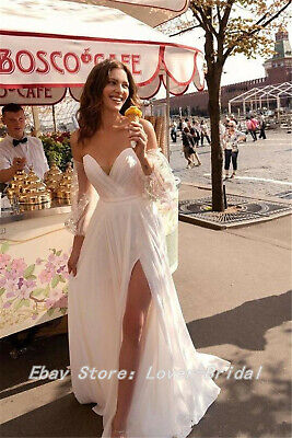 Sexy Beach Wedding Dresses Lace Bohemian Side Split Boho Bridal Gowns Chiffon
