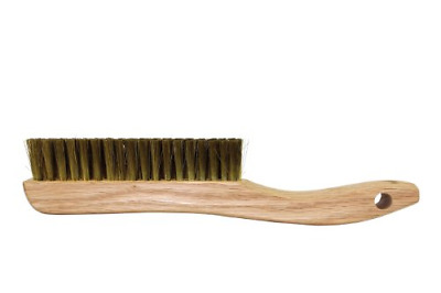 Osborn 54036 Plater's Fine Solid Wood Block Wire Scratch Brush with Long Curved
