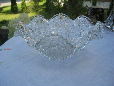 "#98 wow American brillant press cut crystal large bowl sawtooth 10""inches wide"