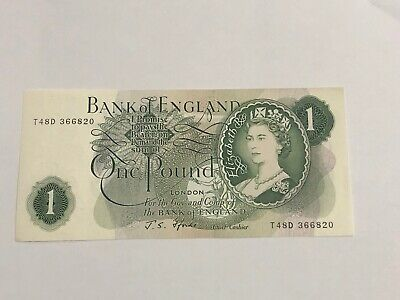 Old £1 English Bank Note One Pound England Very Good Condition