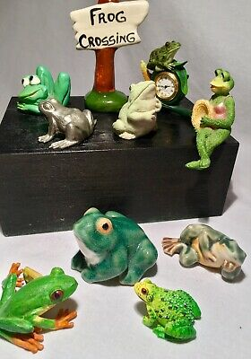 Vintage Collection of Frog Figurines Lot of 10 Assorted Ceramic and Resin Frogs