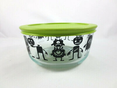 56deab61c1 Pyrex Happy Halloween Monsters Limited Edition 4 Cup Storage Bowl Green Lid