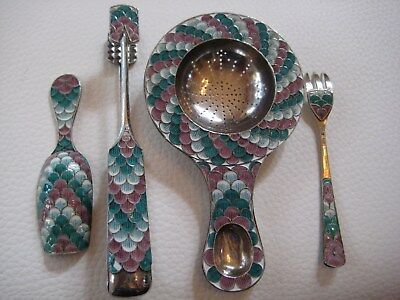 Antique Midcentury Russian Soviet Sterling Silver & Enamel 4 Piece Set 102 Grams