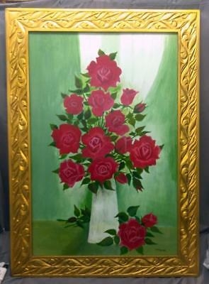 Large Red Roses Floral Still Life Flowers Old Vintage Oil Painting Carved Frame